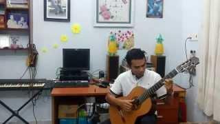 Tombe la neige - Salvatore Adamo (Tuyết rơi) - Guitar finger style (Nguyen Kim Huyen)
