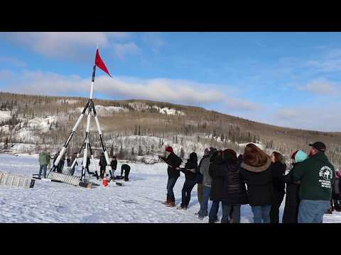 Raising of the tripod. Tripod Days. Nenana Ice Classic - 2019