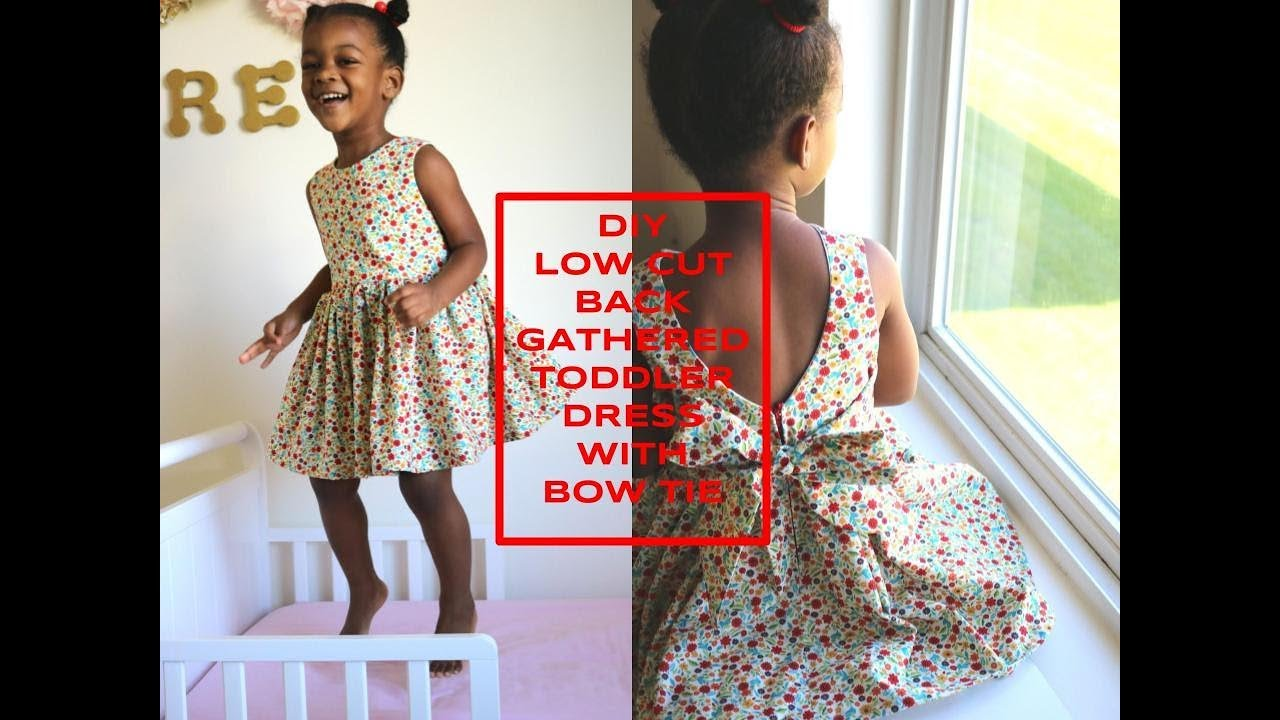7aeb897257ca DIY [Beginner Sewing] Low cut back gathered toddler dress with bow tie