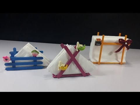 DIY Popsicle/Ice cream stick Tissue paper holder