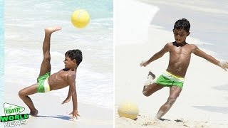 Cristiano Ronaldo's Son Shows Off Football Skills on the Beach