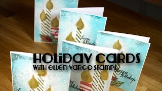 holiday cards with stamps by Ellen Vargo