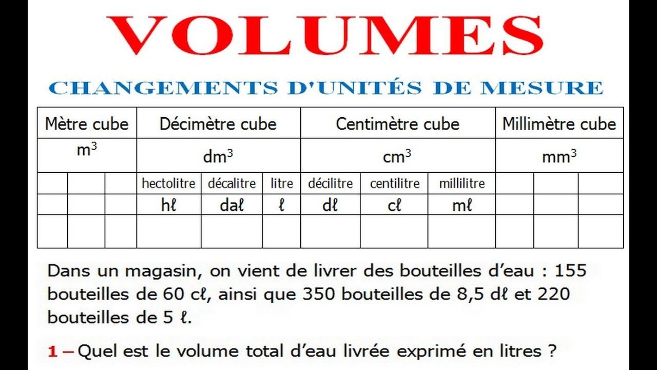 Croissant Maths 5ème - Volumes convertir d'unités de mesure Exercice 1 - YouTube SV-53