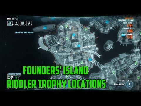 Batman: Arkham Knight - Founders' Island Riddler Trophy Locations