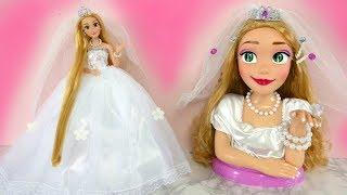 Barbie Rapunzel Styling Head Doll Wedding Makeover gaun pengantin Barbie Raunzel Vestido de Noiva