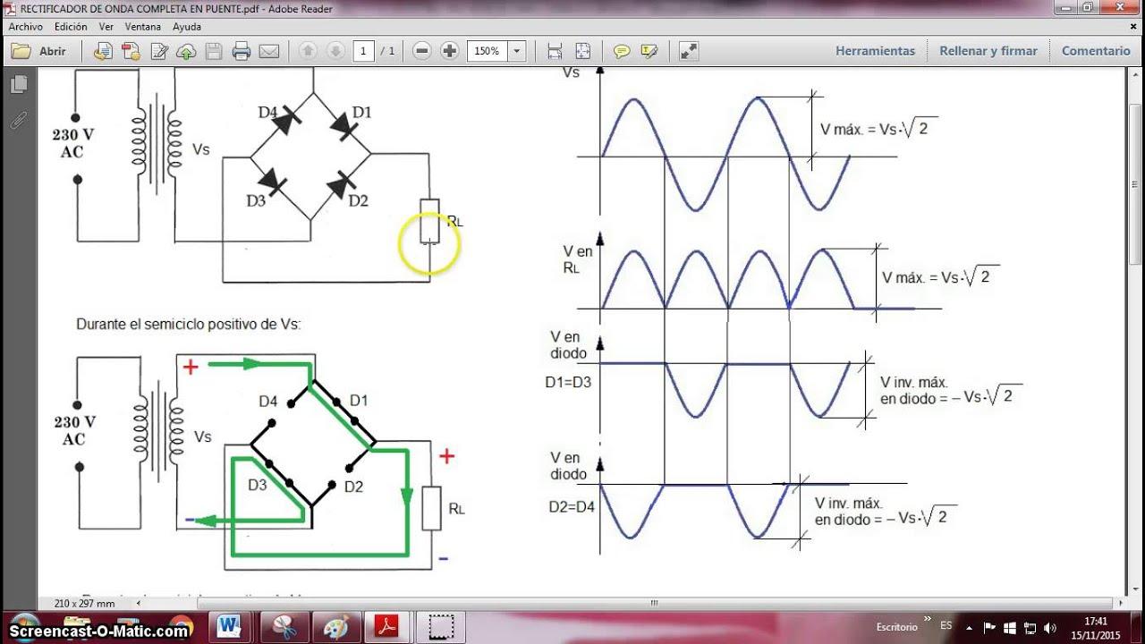 Circuito Rectificador : Rectificador de onda completa en puente youtube