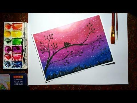 Painting Art Arena sketch in Watercolors   love birds