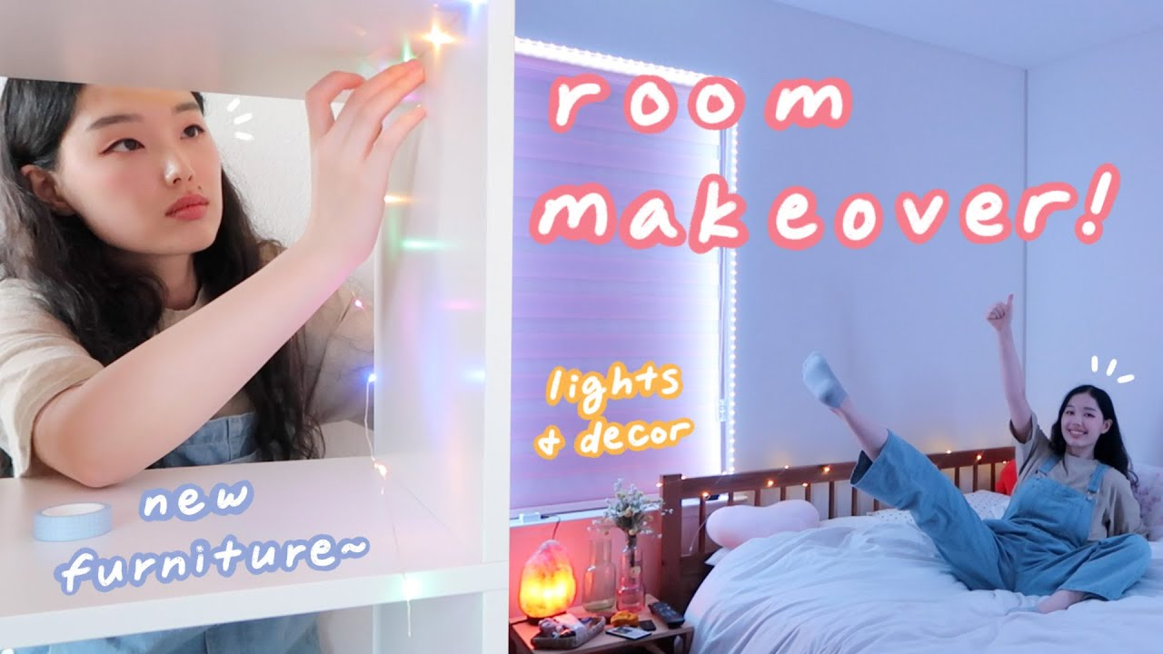 ROOM MAKEOVER: led lights, new furniture, ~aesthetic~ decorate with me