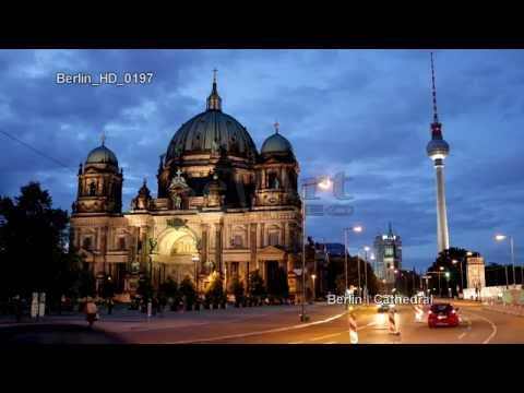 UHD Ultra HD 4K Video Stock Footage Berlin Travel Cathedral TV Tower Iconic Landmarks German Trip