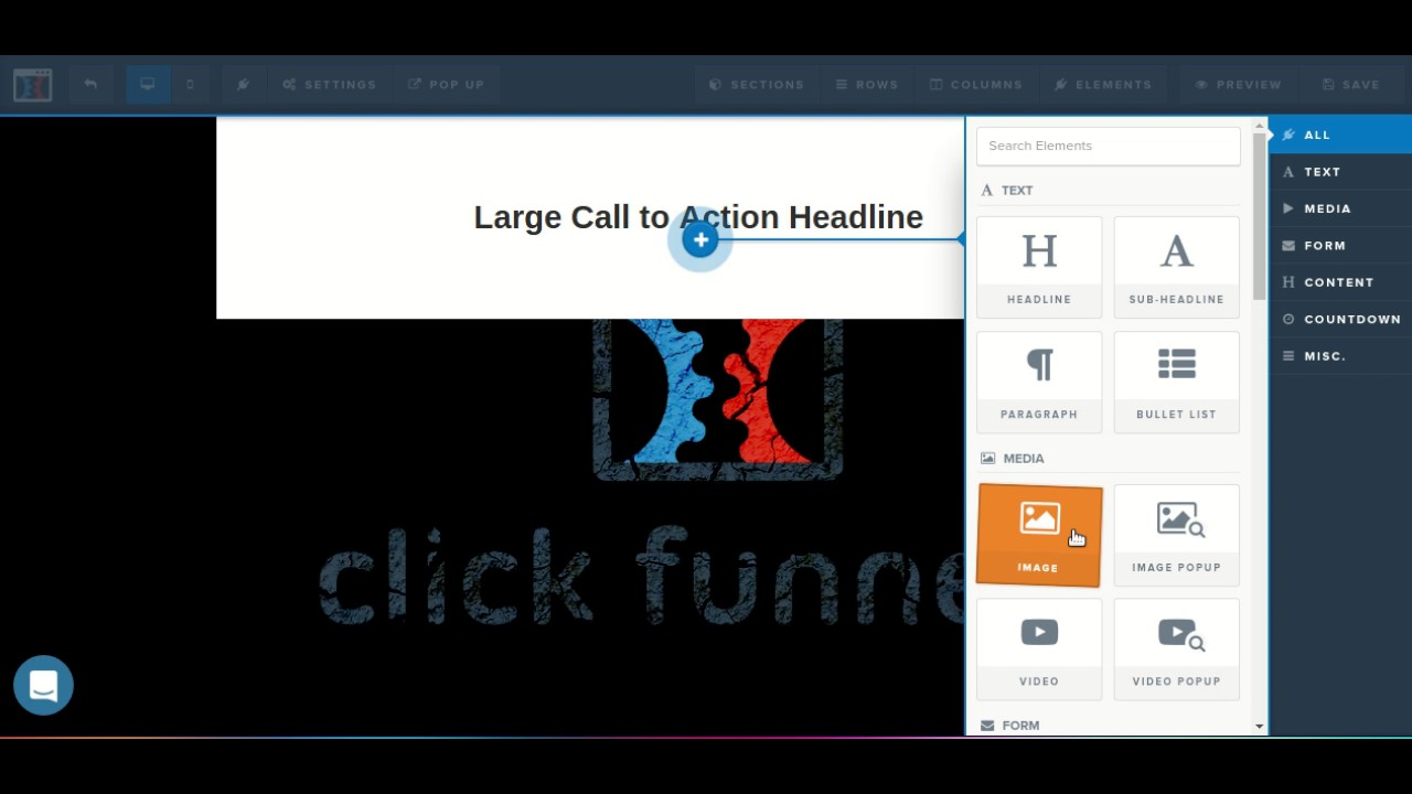 (ClickFunnels Page Editor) How to add elements to your ClickFunnels pages