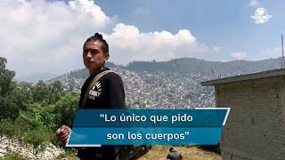 """Jorge Andrés, esposo de Paola y padre de Jorge Dilan, quienes se encuentran aún debajo de pesadas rocas tras el deslave en el Cerro del Chiquihuite, espera que le regresen los cuerpos para sepultarlos y, dice, """"empezar de cero"""""""