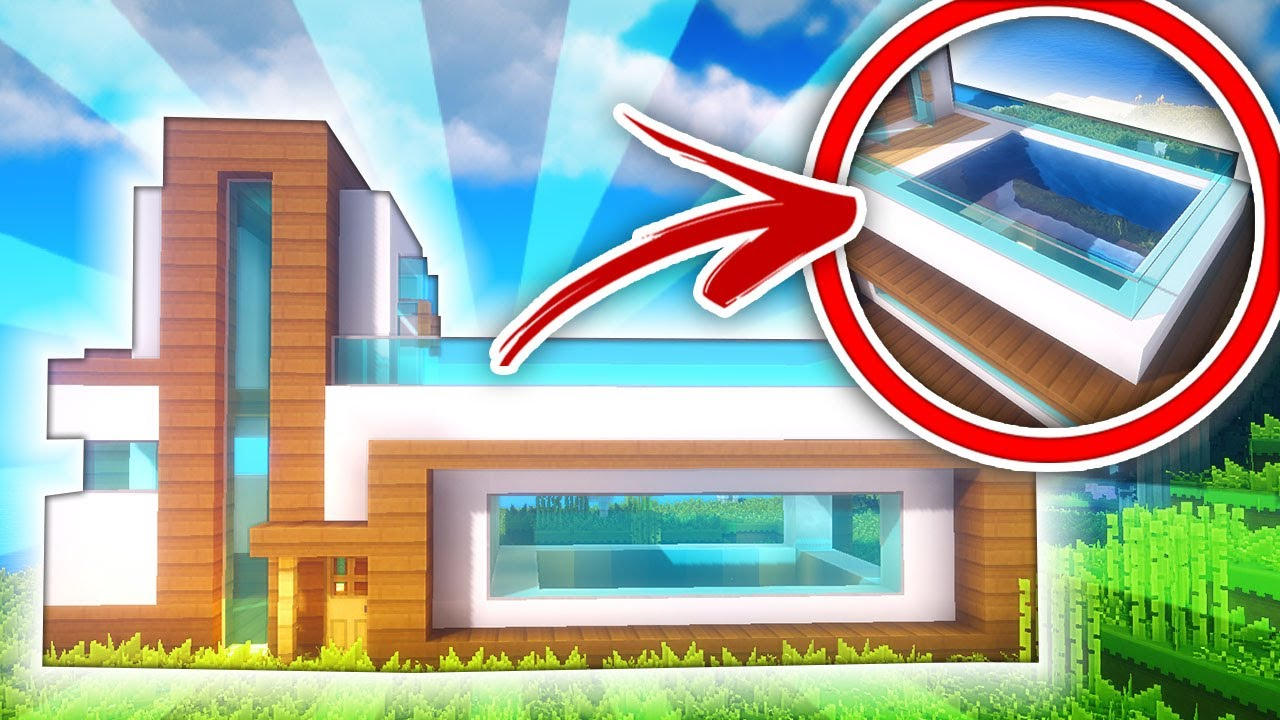 Minecraft casa moderna con piscina en el tejado tutorial youtube - Casa con piscina ...
