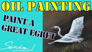 Paint A Great Egret - Fast Motion Demo - Bird Oil Painting on Clay Paint - Techniques Tutorial