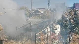 Дом горит в Новотроицке