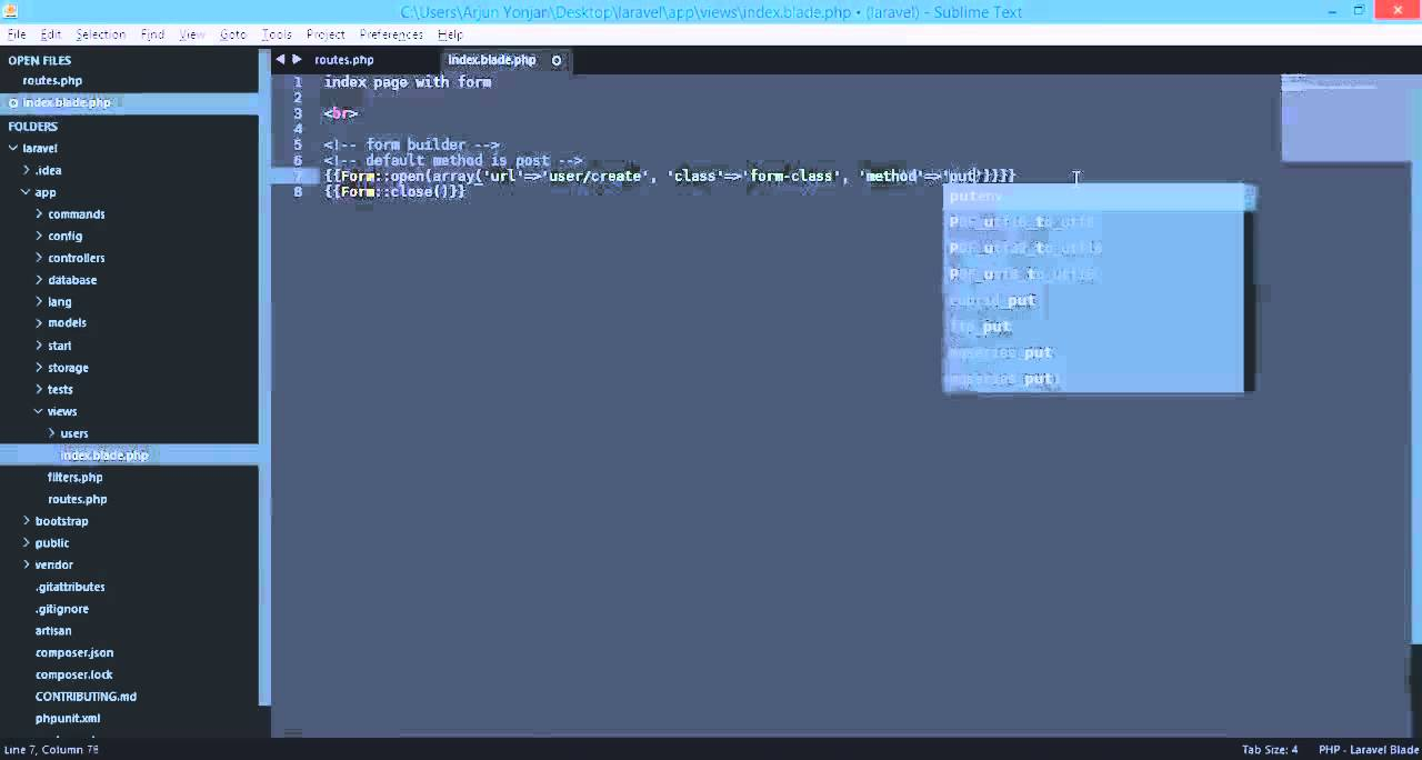 laravel 4 form builder opening a form Form open, Form close - YouTube