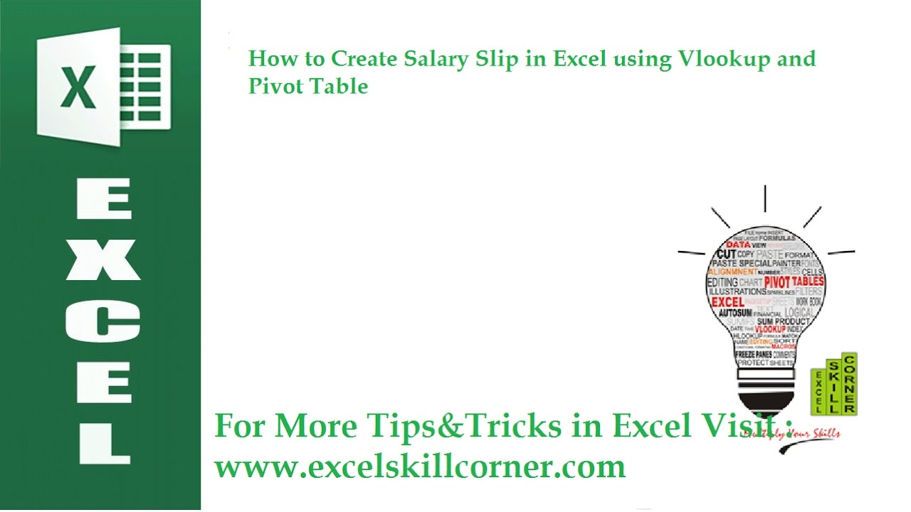 how to create salary list using vlookup and pivot table in