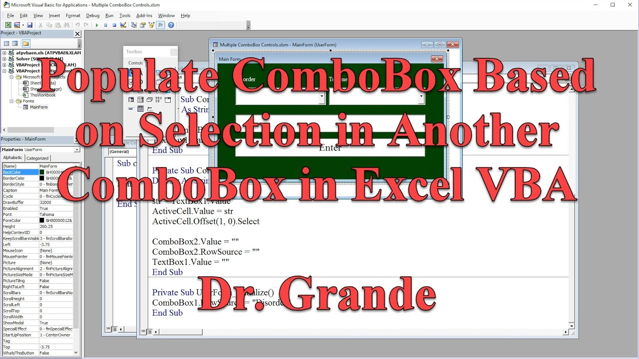 Populate ComboBox Based on Selection in Another ComboBox using Excel VBA