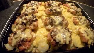 ВКУСНЕЙШАЯ КАРТОХА в духовке Картофель сыром мясом и грибами Рецепт для вкусного ужина СЛЮНИ ТЕКУТ