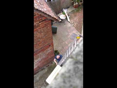 Dumb fail labour setting up ladder plasterer