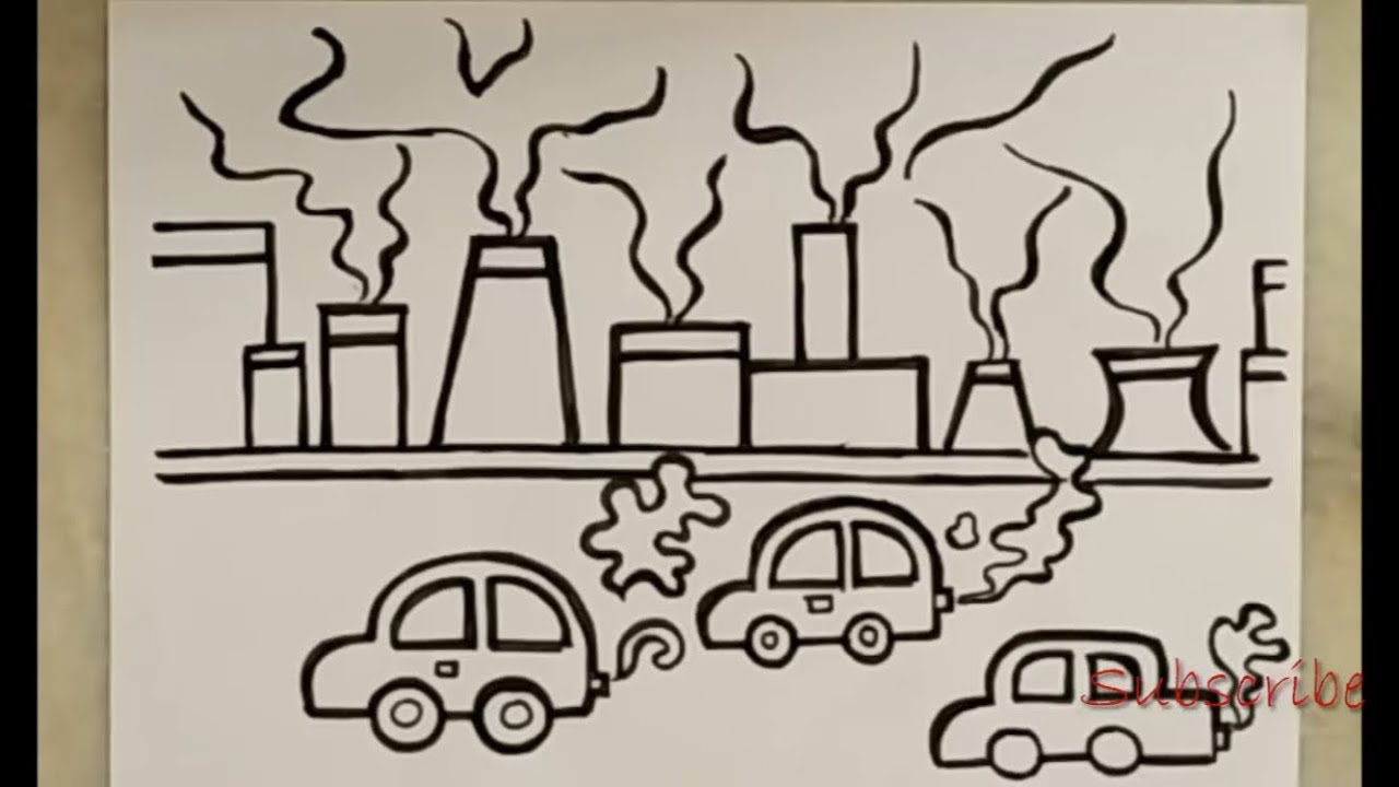 Drawing of air pollution for kids artistica