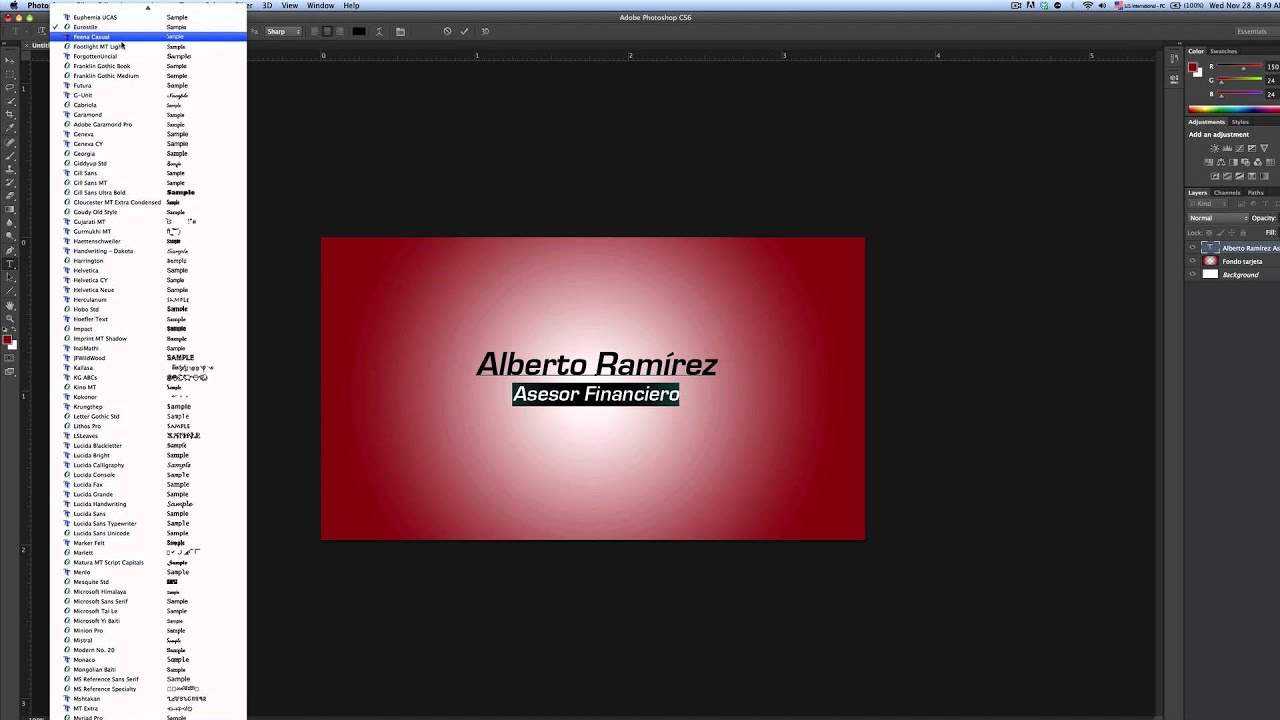 Crear tarjetas personales en Photoshop - YouTube