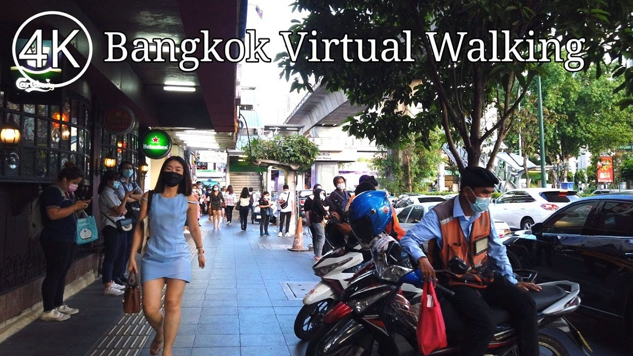 [4K] Walk from BTS Skytrain Asok to Phrom Phong in Bangkok, Thailand