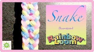 """""""Змея"""" браслет из резинок на рогатке Bracelet """"Snake"""" tutorial DIY Loom bands"""