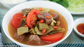 Beef Shank And Pickled Mustard Greens Soup (canh Dua Cai Chua Bap Bo)