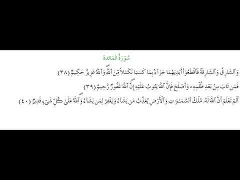 SURAH AL-MAEDA #AYAT 38-40: 15th April 2021