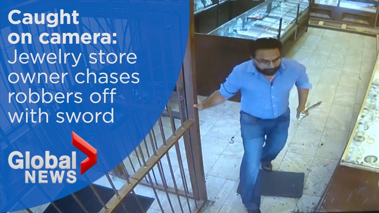 Jewelry store owner chases robbery suspects off with sword