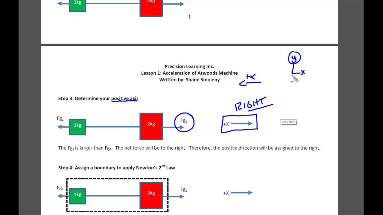 Physics: Atwood's Machine Acceleration Worksheet - YouTube