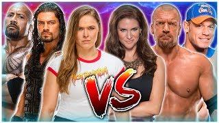 Ronda Rousey & The Rock & Roman Reigns VS Stephanie McMahon & John Cena & Triple H - WM35 Main Event