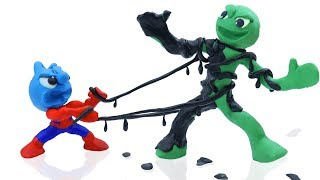 TINY SPIDERMAN MEETS ALIEN IN BLACK COSTUME    CLAY MIXER Cartoons Animation