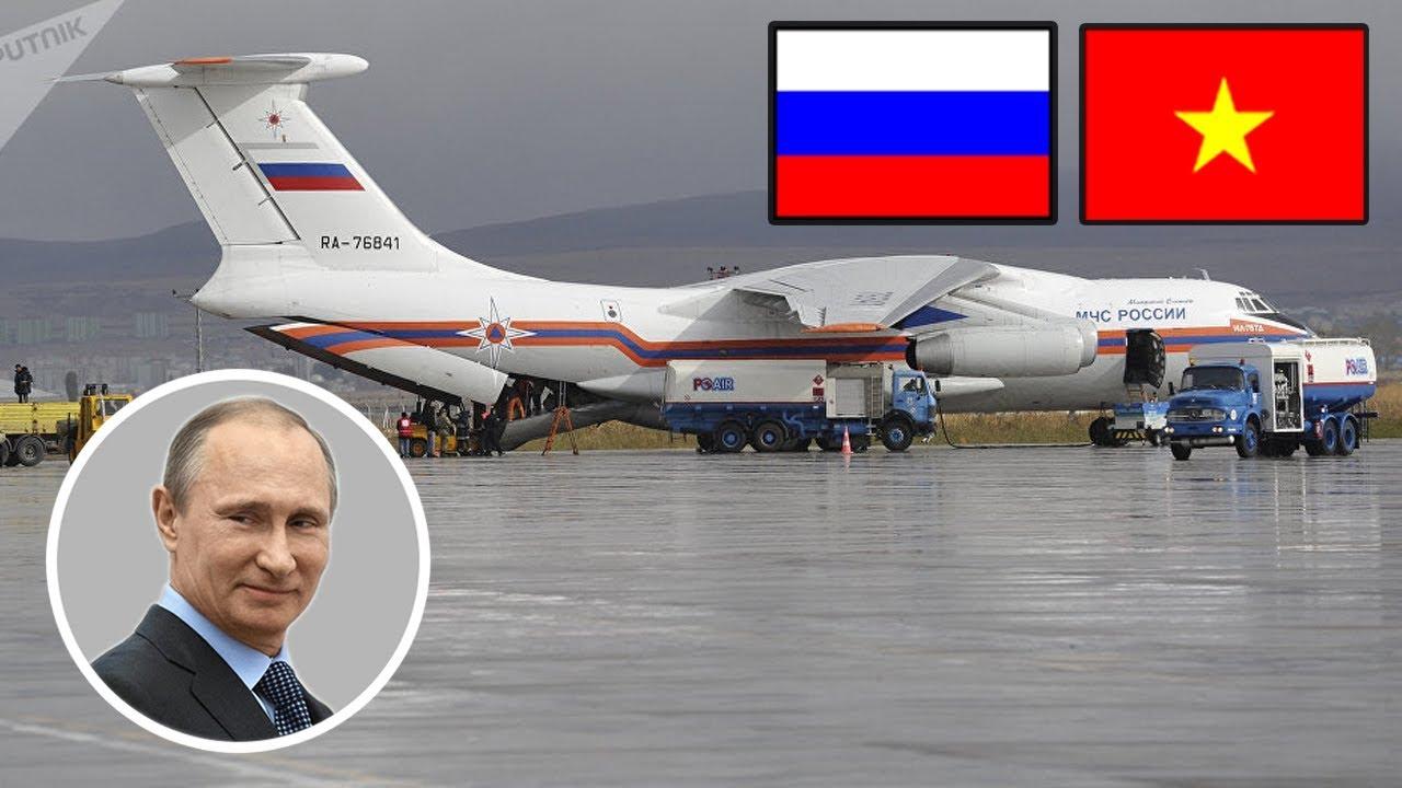 Máy bay vận tải Nga IL-76 của PUTIN chở viện trợ nhân đạo sẵn sàng cất cánh đến Việt Nam