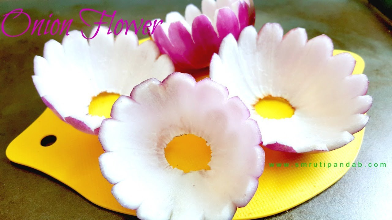 How to carve onion flower easy and simple vegetable