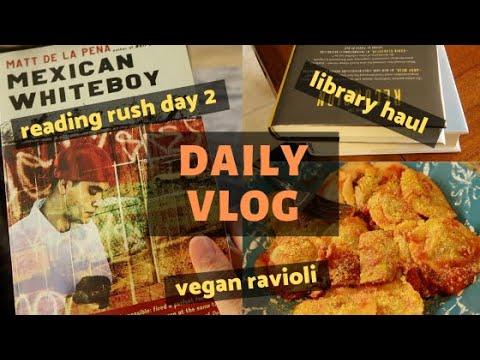 vegan ravioli and library haul | READING VLOG
