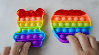 Pop It ASMR rainbow Bear and Apple, satisfying video