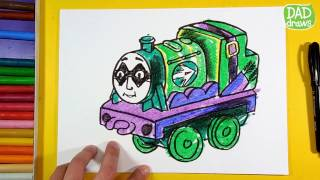 How to draw Henry as Green Arrow / dc super friends / thomas and friends