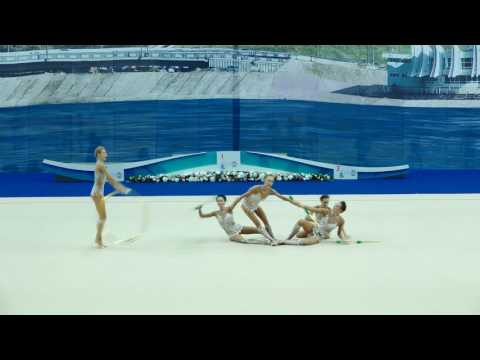 World Cup Kazan 2016 (Groups All-around) Russian National Group - 2 Hoops And 6 Clubs