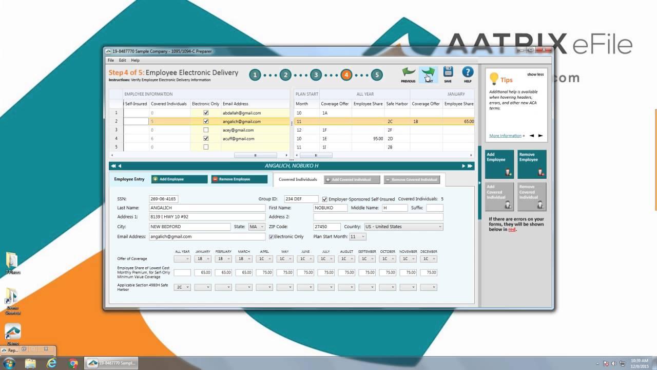 Aatrix ACA Preparer eFiling Demo - YouTube