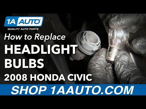 How to Replace Headlight High Low Beam Marker Bulbs 05-11 Honda Civic