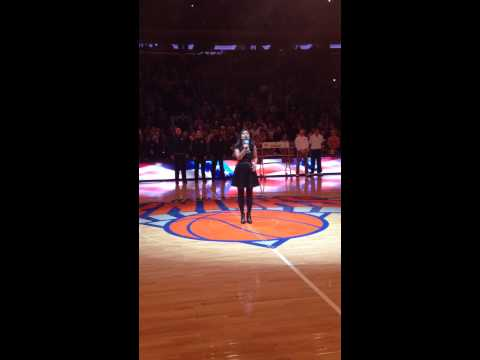 Brianna Gentilella sings the National Anthem at the Knicks game on 111614