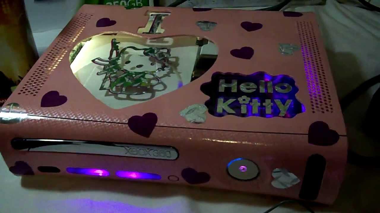 Custom HELLO KITTY Xbox 360 ELITE WPINK CHROME CONTROLLER RAPID FIRE FOR SALE YouTube