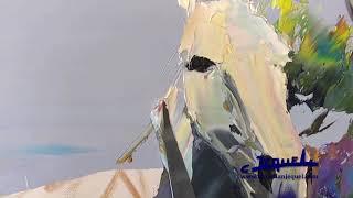 """02 - Démonstration de peinture au couteau par Christian Jequel: """"Chevaux"""""""