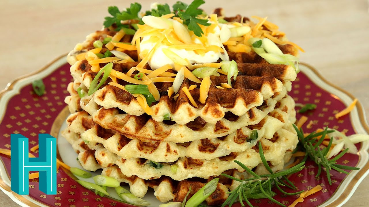 Mashed Potato Waffles! Hilah Cooking - YouTube