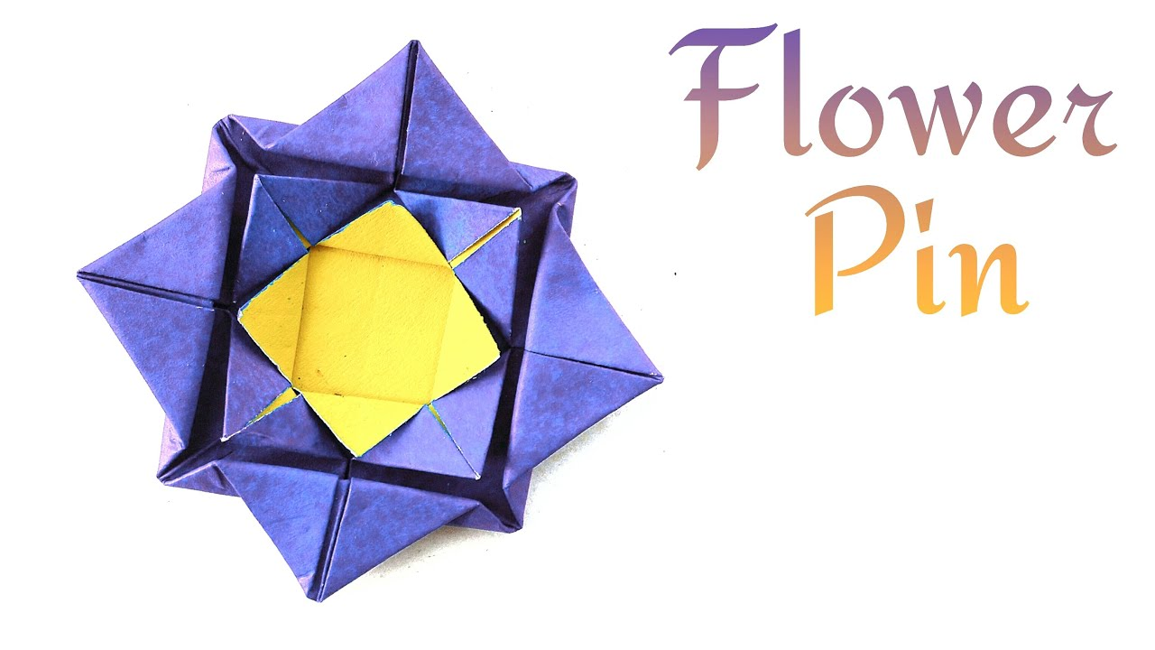 "Flower Origami tutorial - Paper ""Simple Lotus Flower Pin ... - photo#26"