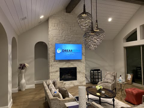 """MantelMount MM700 with Samsung 75"""" Q7F 4K TV Over Stone Fireplace & More!"""
