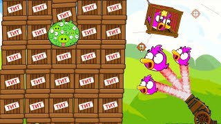 Angry Birds Cannon Birds 1 - SHOOT ALL BIRDS COLLECTION TO RESCUE GIRLFRIEND FROM 100 EYES PIGS!