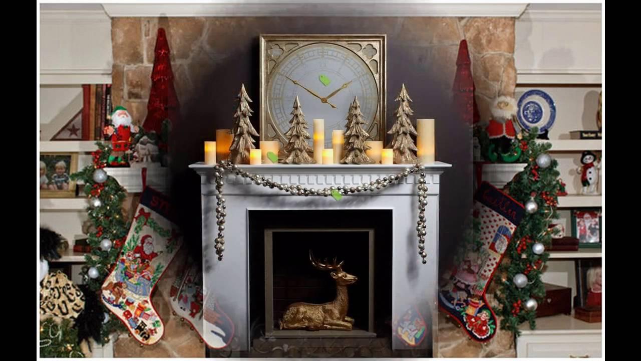 Decoraciones de la chimenea de la navidad  YouTube