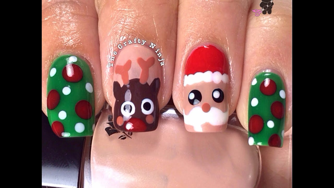 Christmas santa rudolph reindeer nails by the crafty ninja youtube prinsesfo Choice Image